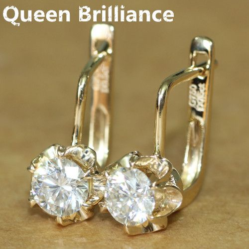 Queen Brilliance 1Carat ctw Lab Grown Moissanite Diamond Earrings For Women Fine Jewelry Solid 14K 585 Yellow Gold Earring