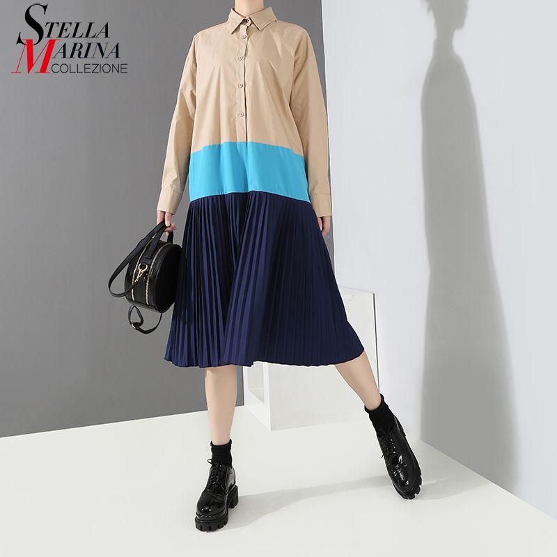 2018 Korean Style Autumn Women Khaki Black Pleated Shirt Dress Long Sleeve Patchwork Design Lady Casual Wear Dress vestidos 3846