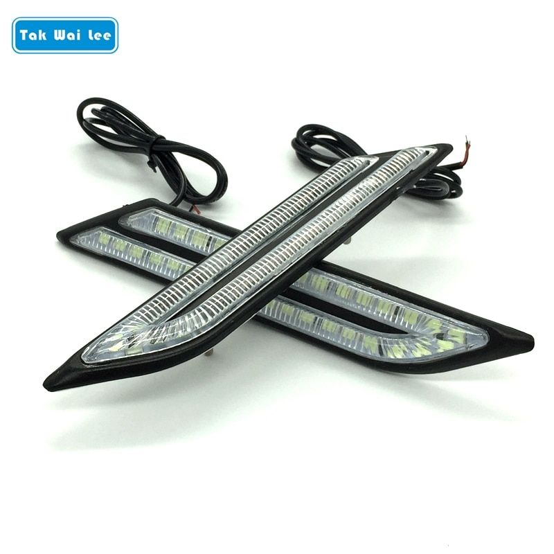 Tak Wai Lee 2X LED DRL feux de jour frein de voiture Source de lumière de direction style de voiture étanche blanc cristal bleu lumière de jour