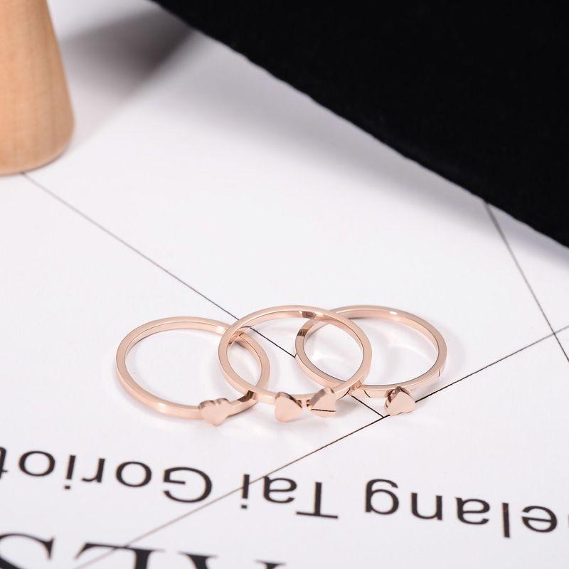 YUN RUO classique Designer couleur or Rose 3 anneaux de trèfle rond ensemble pour femme cadeau bijoux de mariage en acier inoxydable 316L ne se décolore jamais