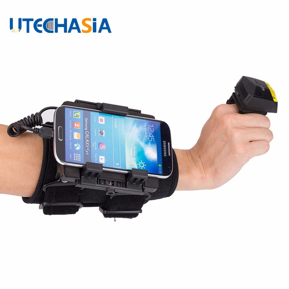 NEW Bluetooth Barcode Scanner Wired 2D Finger Laser & Wearable Data Terminal WT02+FS02 for IOS Android Windows Phones