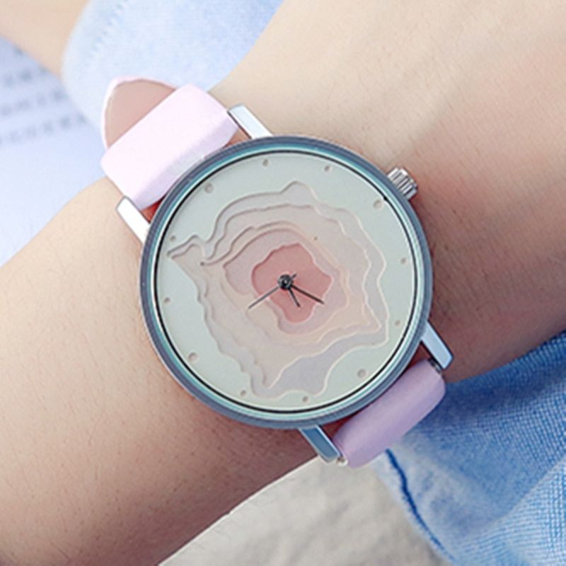 3D Face wood grain Dial unisex watch Ladies Casual wristwatch men Vintage Leather Band watch Women Quartz-watch BGG Famale Clock