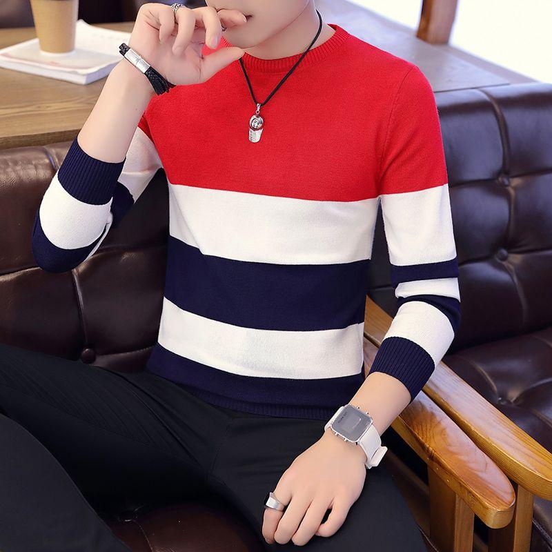 Offre spéciale hommes chandail 2019 printemps automne nouveaux étudiants sud-coréen Slim jeunesse rayé chandail rouge et noir deux couleurs M-XXL