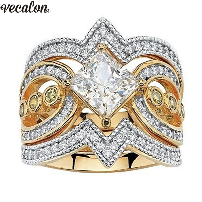 Vecalon Vintage 3-in-1 925 Sterling Silver ring sets Princess 5A Zircon Cz Engagement wedding Band rings for women Party Jewelry