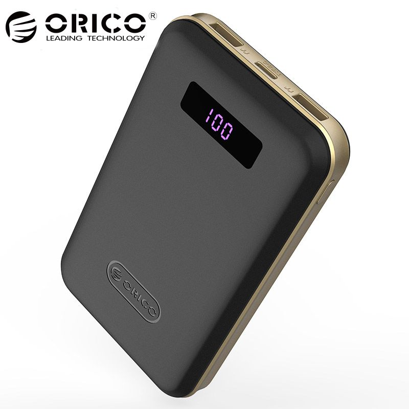 ORICO 12500mAh Type-c Power Bank LCD External Battery Portable Mobile Fast Charger Dual USB Powerbank Universal Black