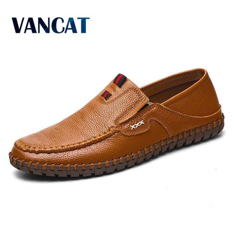 VANCAT Brand Size 38-47 Fashion Handmade Brand Genuine leather men Flats,Soft leather men Male Moccasins,High Quality Men Shoes