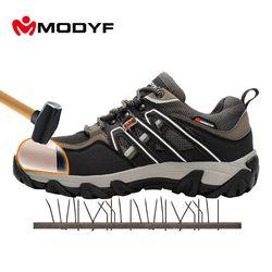 Modyf hombres puntera de acero zapatos de trabajo de seguridad senderismo transpirable zapatilla protección multifunción calzado