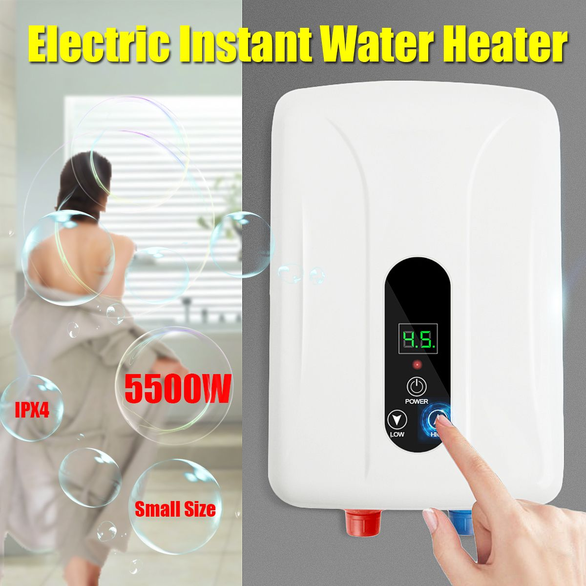 5500W 220V Tankless Instant Electric Hot Water Heater Boiler Bathroom Shower Set Automatic Protection Insulation Anti-corrosion