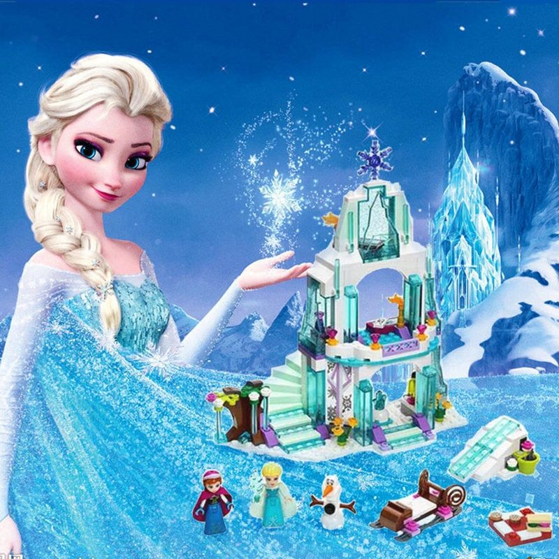 316pcs Color box Dream Princess Elsa Ice Castle Princess Anna Set Model Building <font><b>Blocks</b></font> Gifts Toys Compatible legoINGly Friends