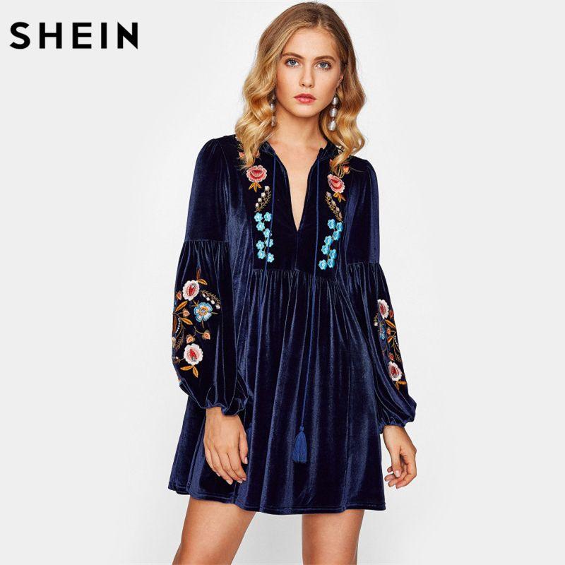 SHEIN Tasseled Tie Bishop Sleeve Embroidery Velvet Dress Navy Long Sleeve V Neck A Line Dress Fall Women Dresses