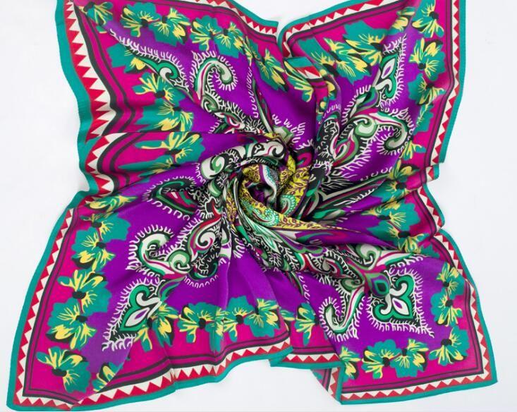 100% silk geometric print square scarf soft wraps for women