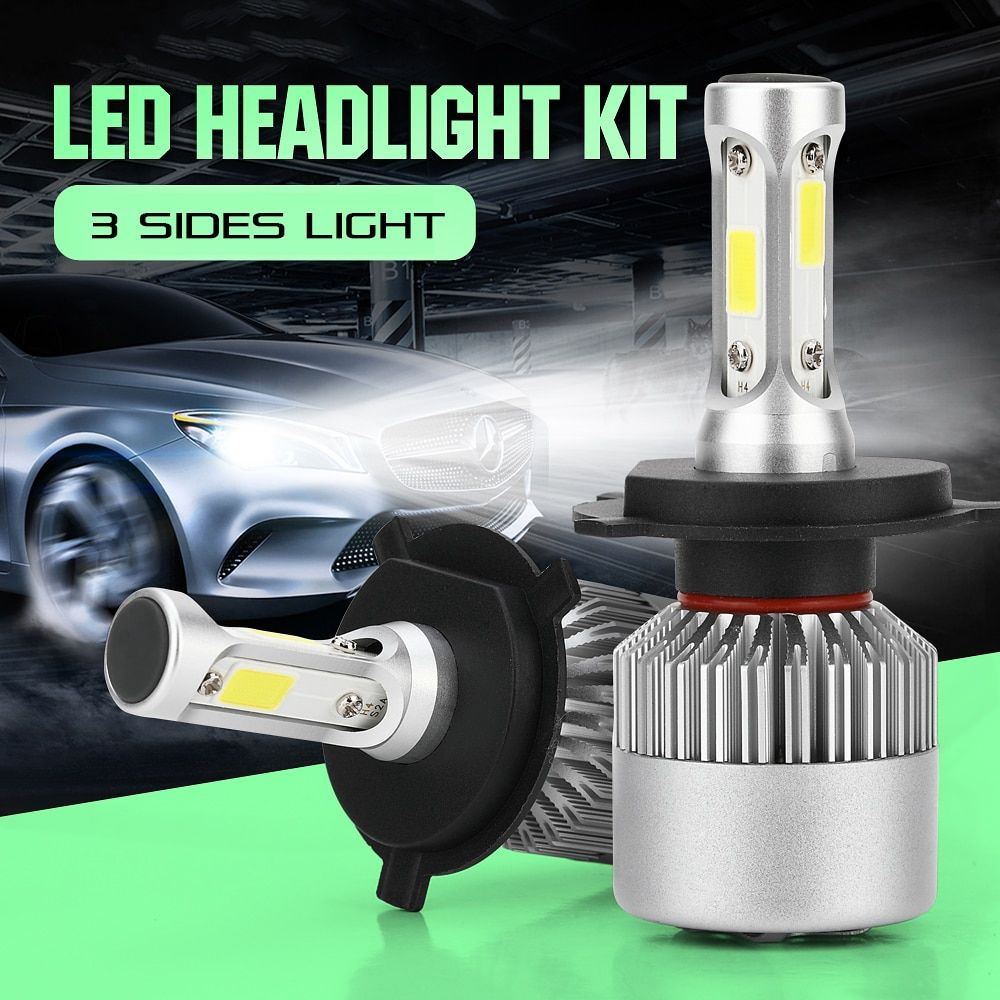 CROSSLEOPARD S2 LED 10000LM/Set Car Headlight H1 H3 H4 H7 H11 H13 H27 <font><b>9004</b></font> HB3 9006 HB4 9007 HB5 Bulb with 3 Sides Lights Lamps