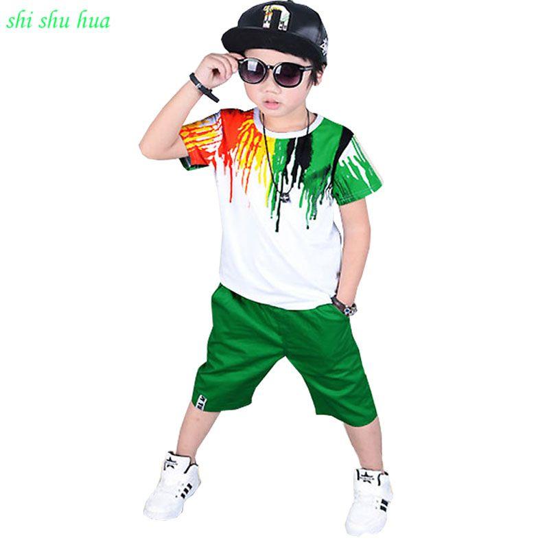 Vêtements pour petit garçon d'été saison Enfants courtes manches T-shirt + pantalon court Arc-En-Impression De Mode de costume de sport 3-12 y Enfants porter