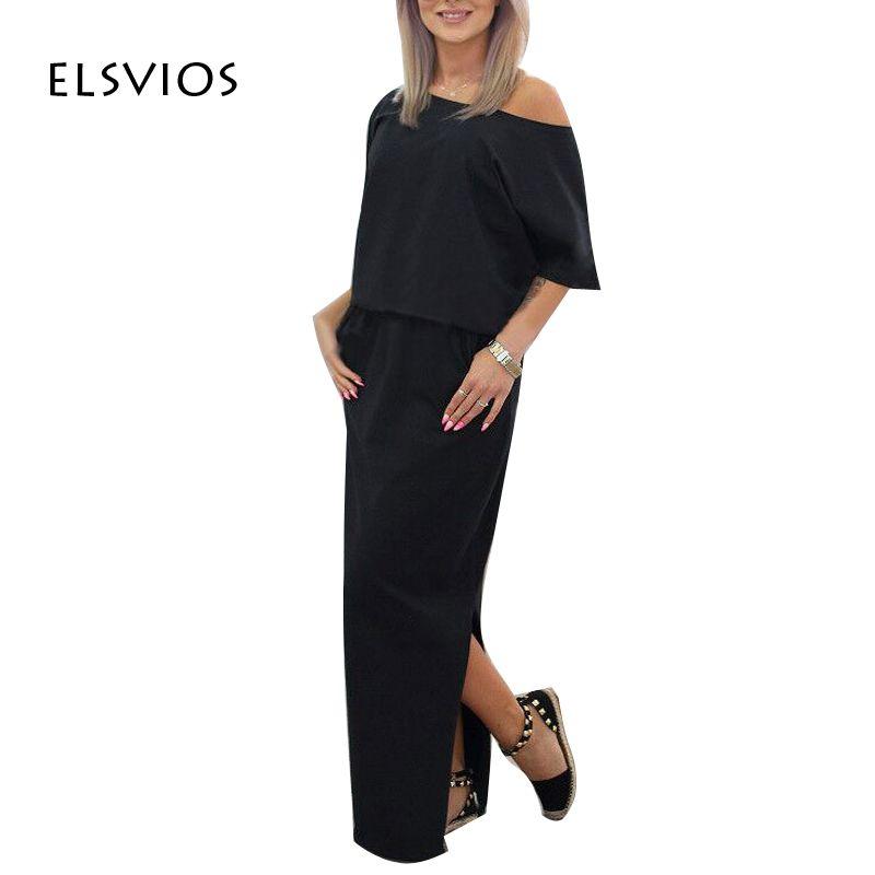 Elsvios 2017 mujeres sexy largo maxi summer dress side dividir loose dress de manga corta vestidos de noche party dress con bolsillo