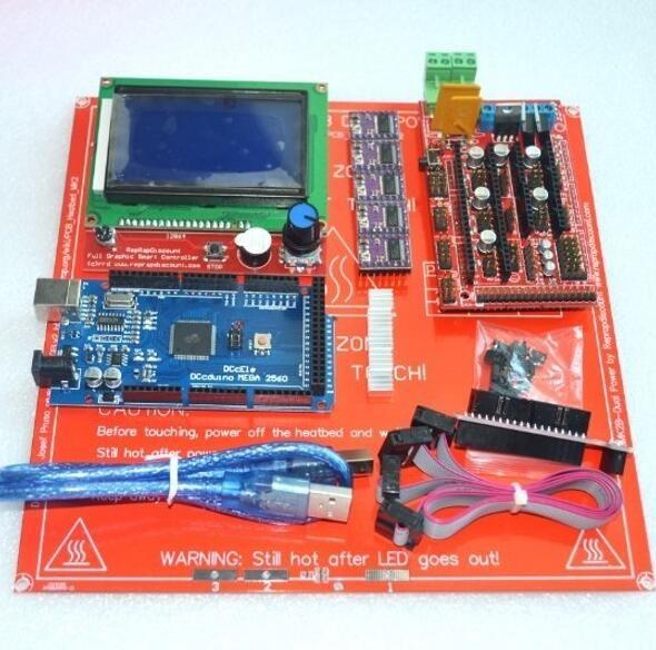 1 pcs Mega 2560 R3 + 1 pcs RAMPES 1.4 Contrôleur + 5 pcs DRV8825 pas à pas Pilote Module + 1 pcs LCD 12864 + 1 pcs MK2B pour 3D Imprimante kit