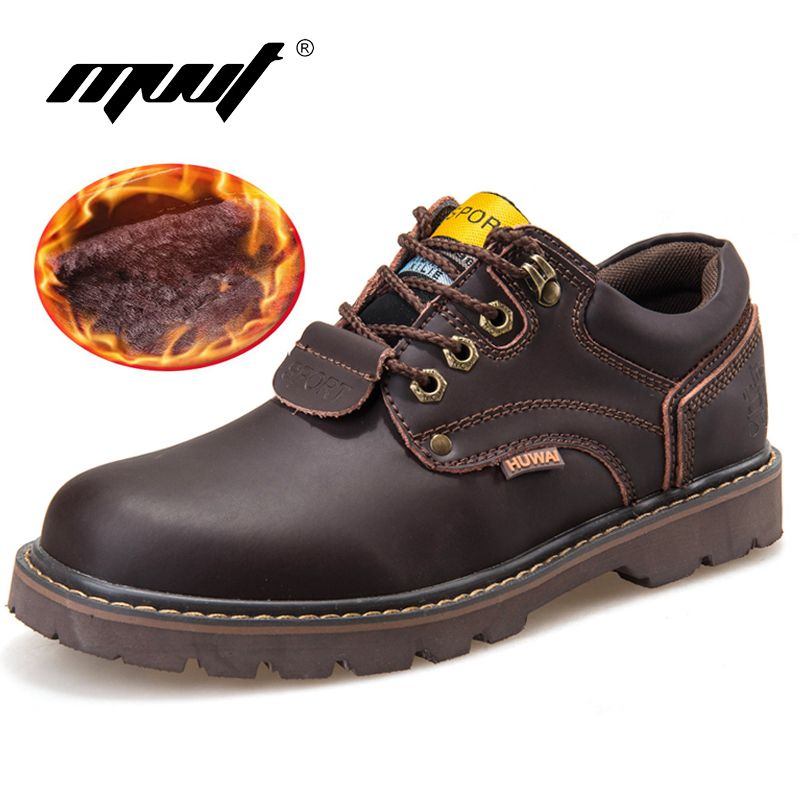 Genuine Leather Men boots Classic Ankle work Boots Nubuck leather Men Winter Snow Boots Autumn Tooling shoes