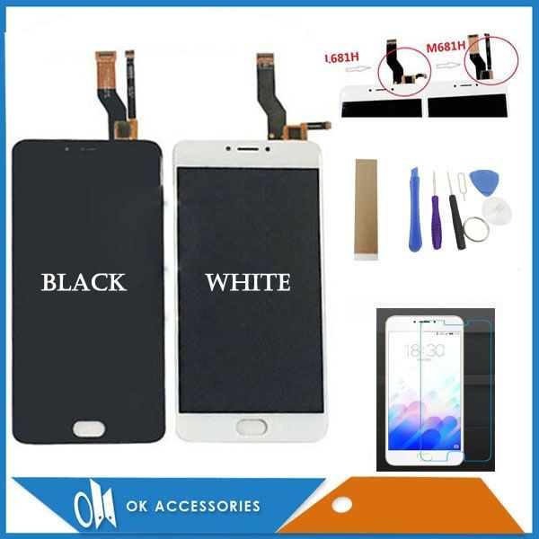 5.5 Inches For Meizu M3 Note L681H M681H LCD Display+Touch Screen Digitizer Assembly Black White With Protector Glass Tools <font><b>Tape</b></font>