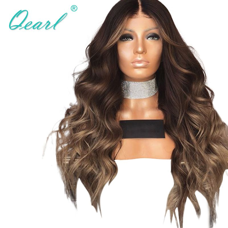 Ombre Layered Color Human Hair Full Lace Wigs Brazilian Wavy Remy Hair for Black Women Pre Plucked 150% 180% Density Qearl