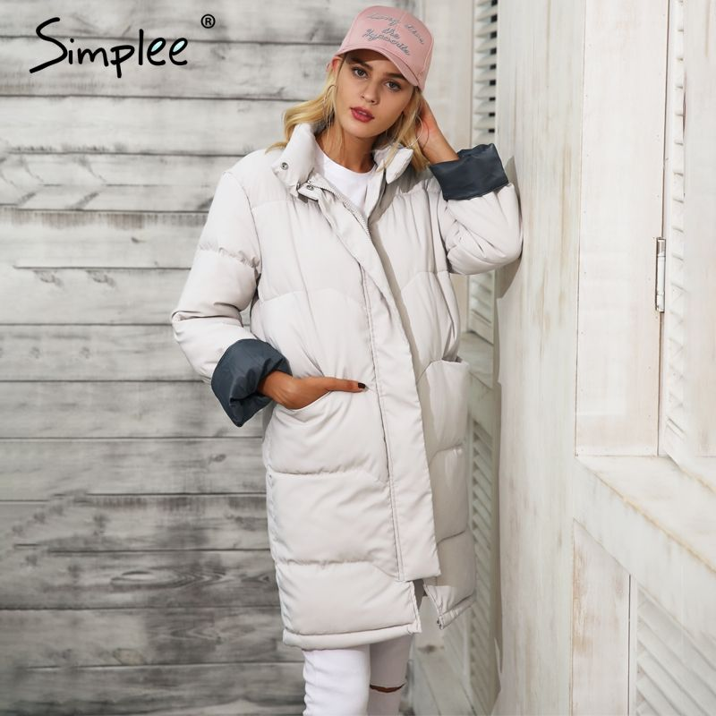 Simplee Cotton padded black parka Women jacket warm zipper pocket outerwear parkas 2017 Autumn winter casual overcoat female