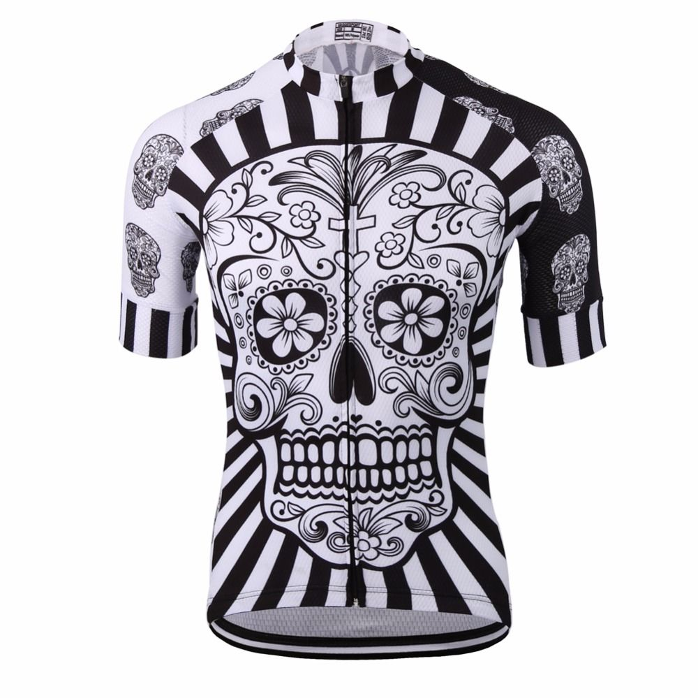 White Skull Sublimation Printing Cycling Jersey <font><b>Best</b></font> 2019 Pro Polyester Bike Wear Summer Men Quick Dry Cycling Top Bicycle Shirt