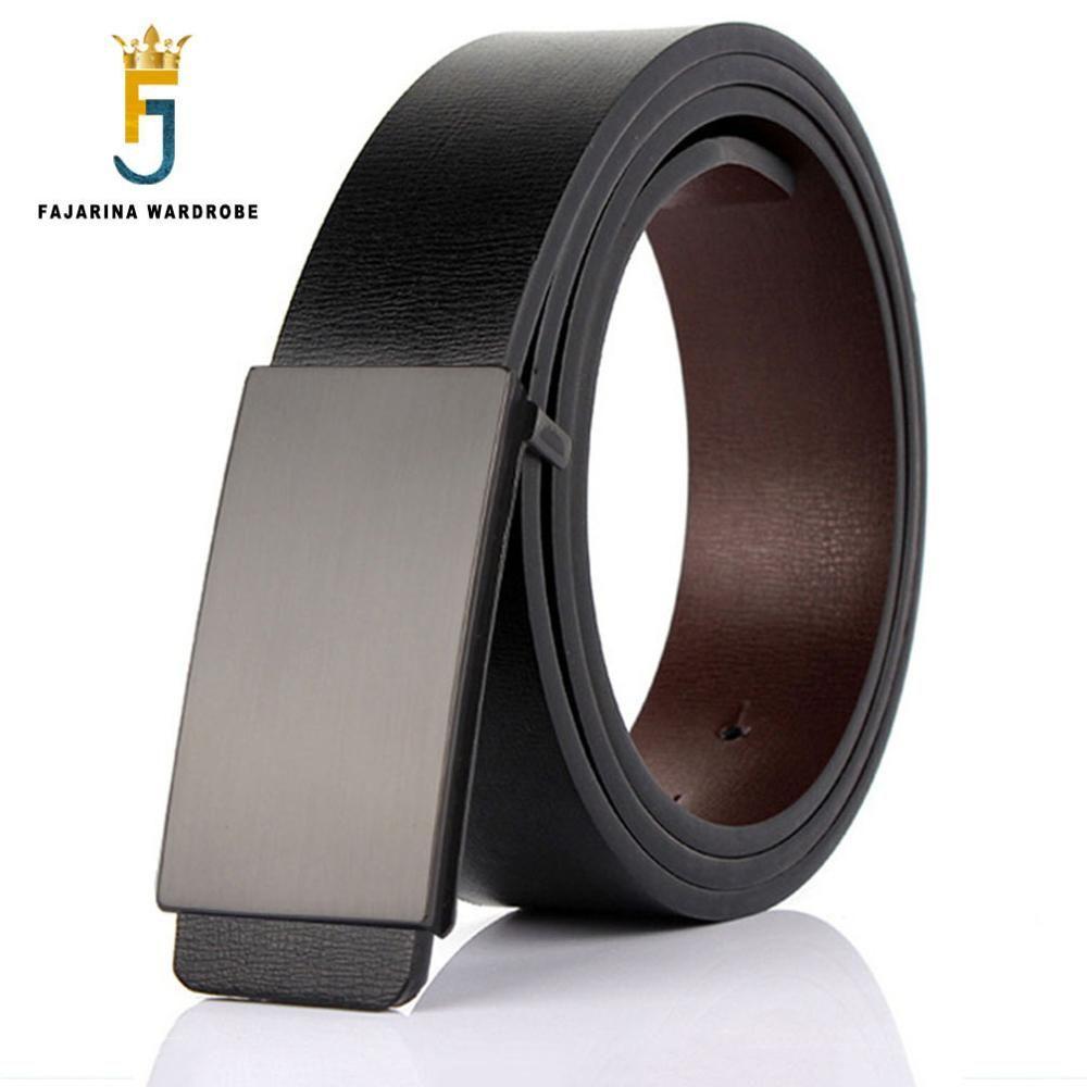 FAJARINA marque hommes qualité Design PU 2nd couche en cuir véritable noir mode ceintures hommes Jeans ceinture vêtements accessoires pour hommes