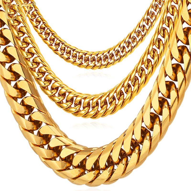 U7 colliers pour hommes Miami lien cubain or chaîne Hip Hop bijoux longues chaînes épais acier inoxydable grand Chunky collier cadeau N453