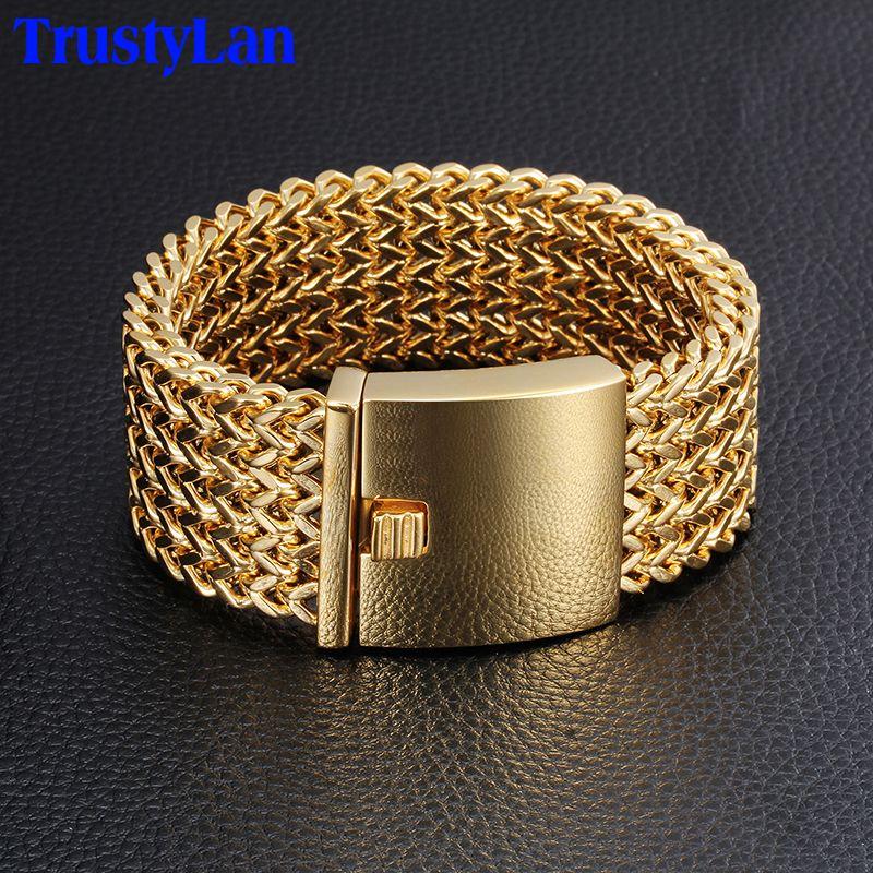 TrustyLan 30MM Wide 23CM Length Men's Bracelet Never Fade Gold Color Stainless Steel Bracelet Men Bangles Jewelry Armband