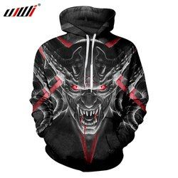 UJWI Dropshipping Hoodies Pria Keren Print Red Eyes Skull 3D Kaus Hoody Pria O Leher Hooded Pullover Panjang Serut Hoodie