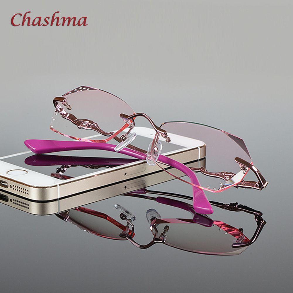 Chashma Marque Nouvelle Mode Corée Sans Monture De Diamants Alliage Femmes Myopie Montures de lunettes Lentilles De Couleur Lunettes Femelle