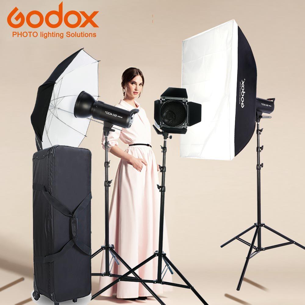 New Godox Photo Studio light 3xDP400II 400WS strobe Flash Photography Softbox Light Stand Kits for Wedding, Food Blogging