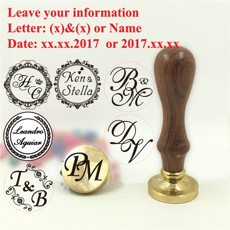 Custom Name Wedding Wax Stamp Initial stamp wood handle,DIY Ancient Seal Retro Stamp,Personalized Stamp Wax Seal custom design