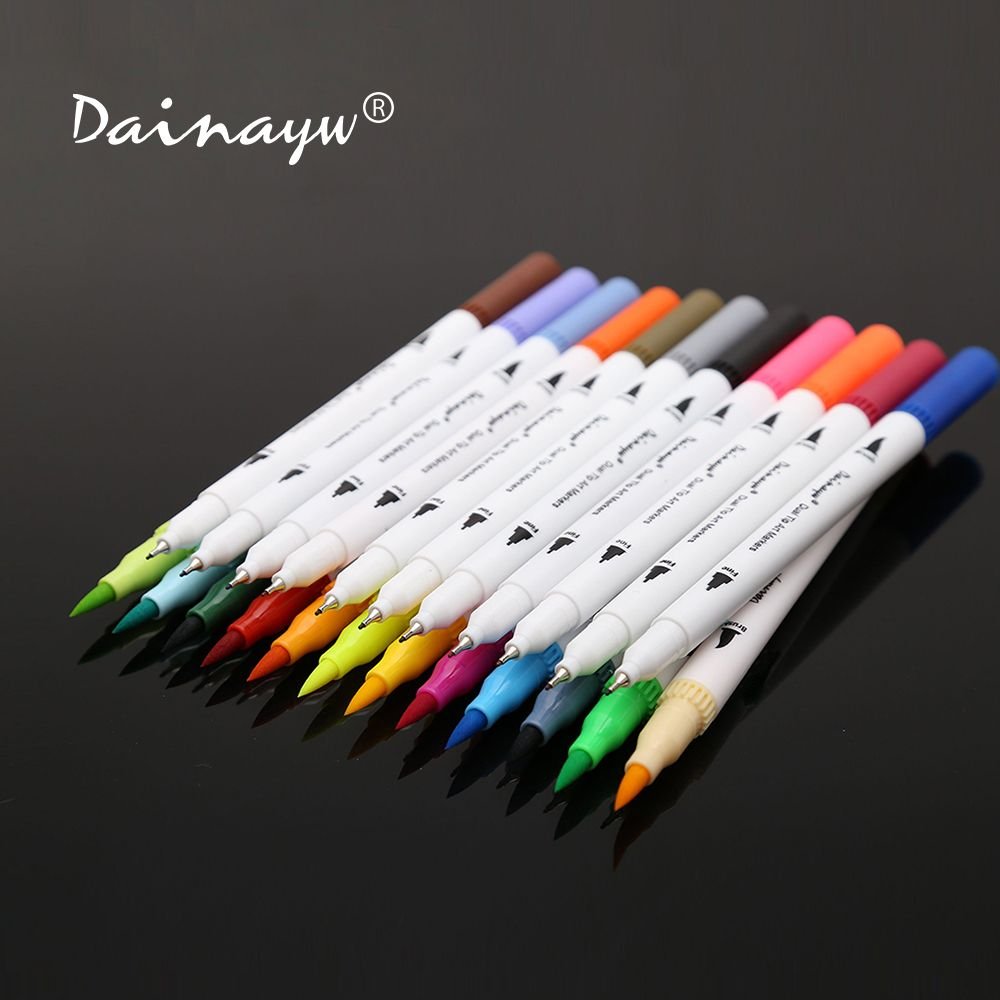 Dainayw 24 Colors 0.4mm Fineliner Water based ink Dual Head Sketch Markers Brush Pen For Draw Coloring Books Design Art Supplies
