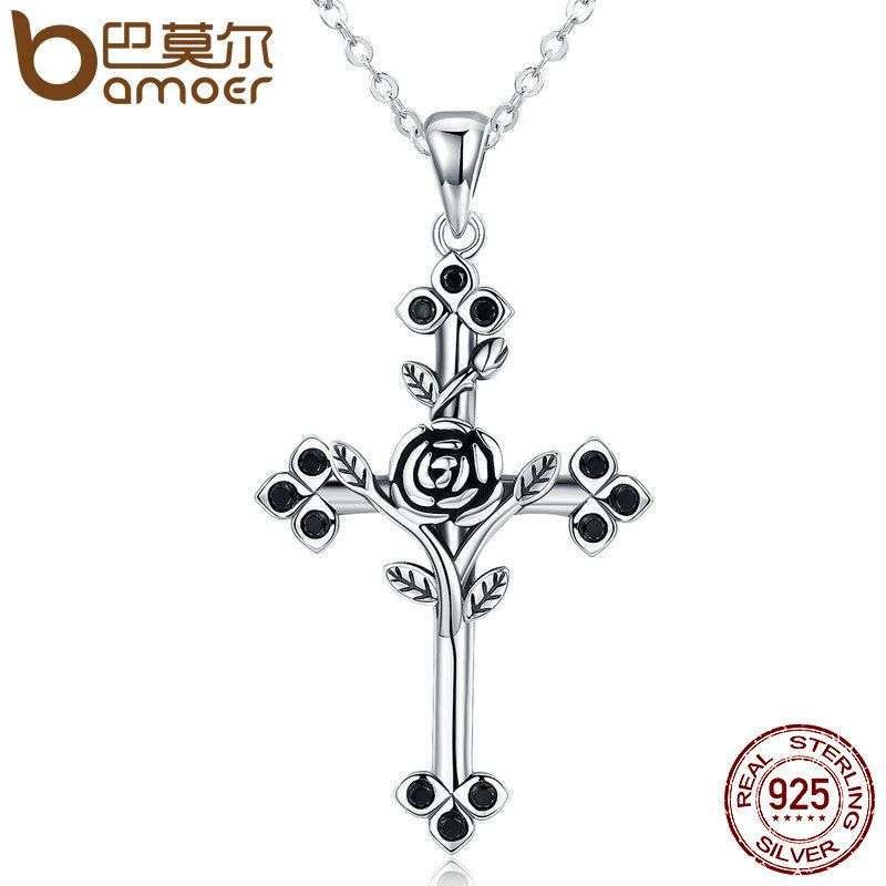 BAMOER Authentic 925 Sterling Silver Rose Flower Leaf Cross Pendant Necklaces for Women Sterling Silver Jewelry Collares SCN091