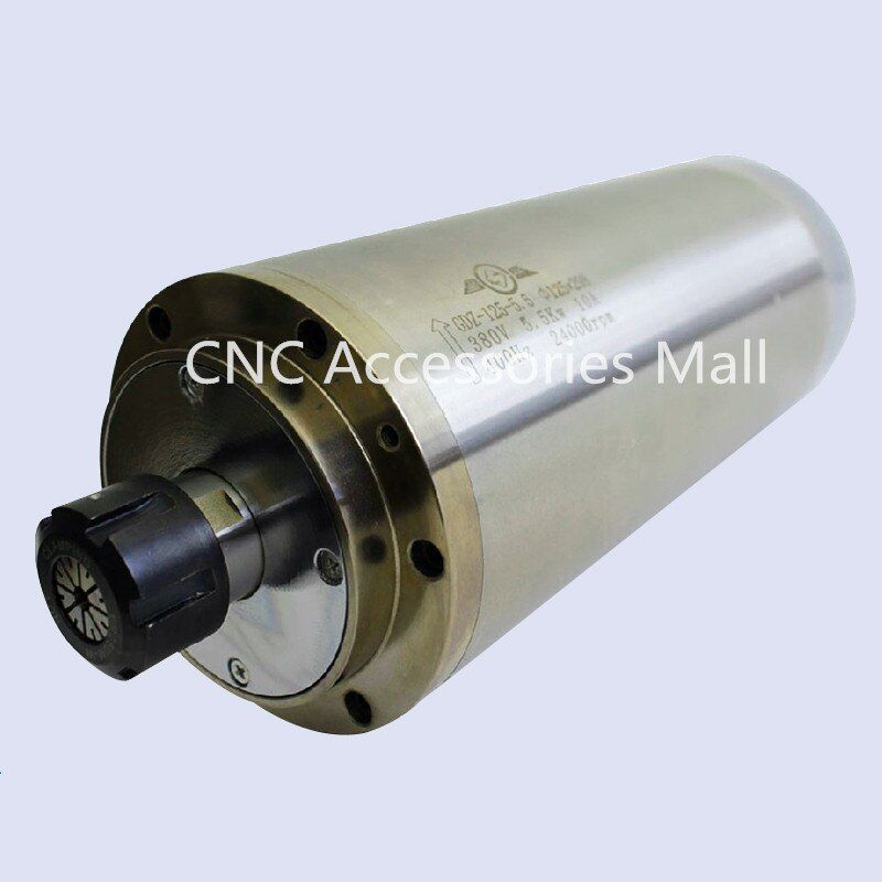 5.5kw,24000RPM 380v D125mm water cooled spindle motor with ER25 collet for CNC Router