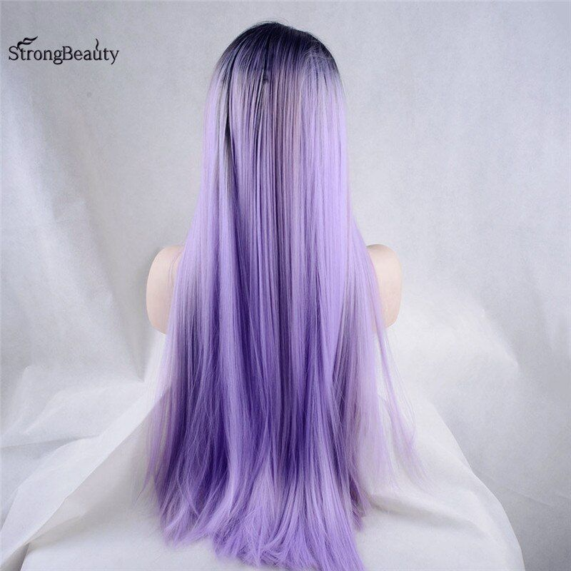 Strongbeauty Long Silky Straight Lace Front Wigs Synthetic Ombre Black to Violet/Purple Synthetic Wig for Black Women