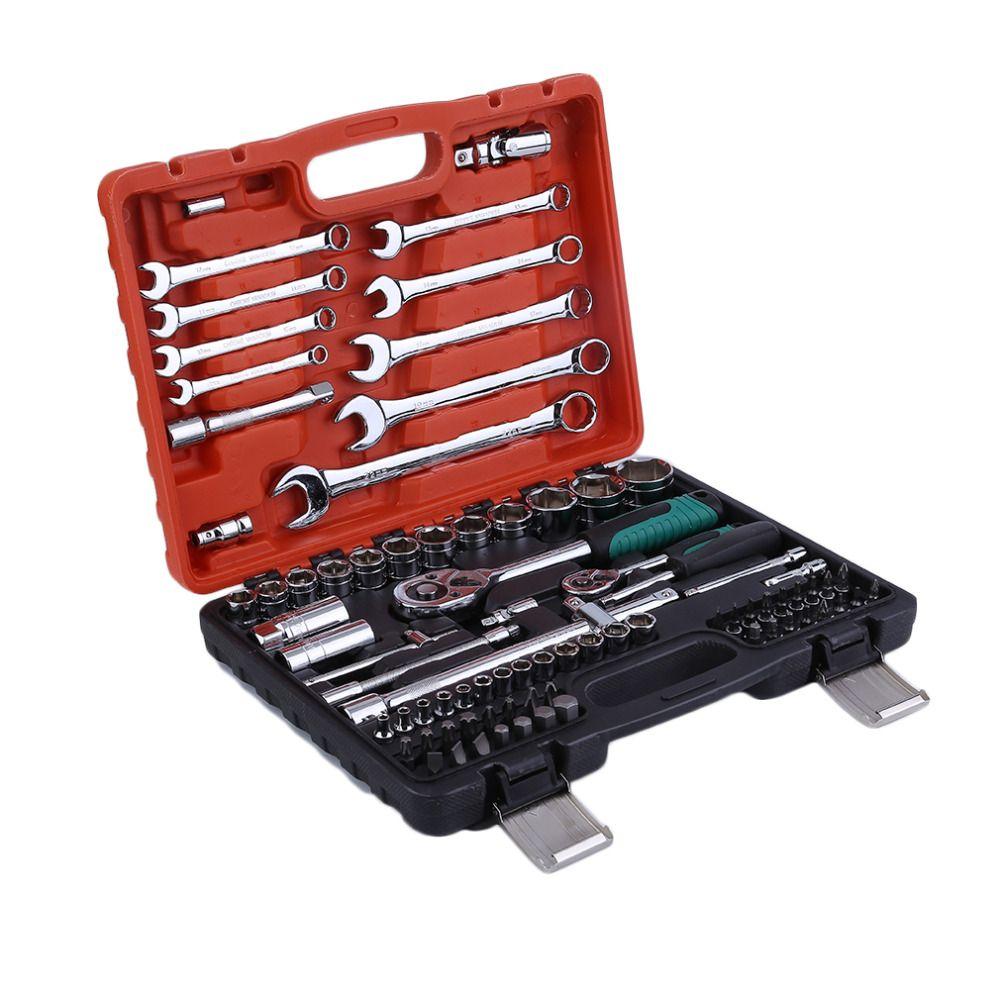 82pcs Keys Spanner Car Vehicles Repair Tool Ratchet Torque Wrench Combo Tools Kit Auto Repairing Hand Tool Set 2018