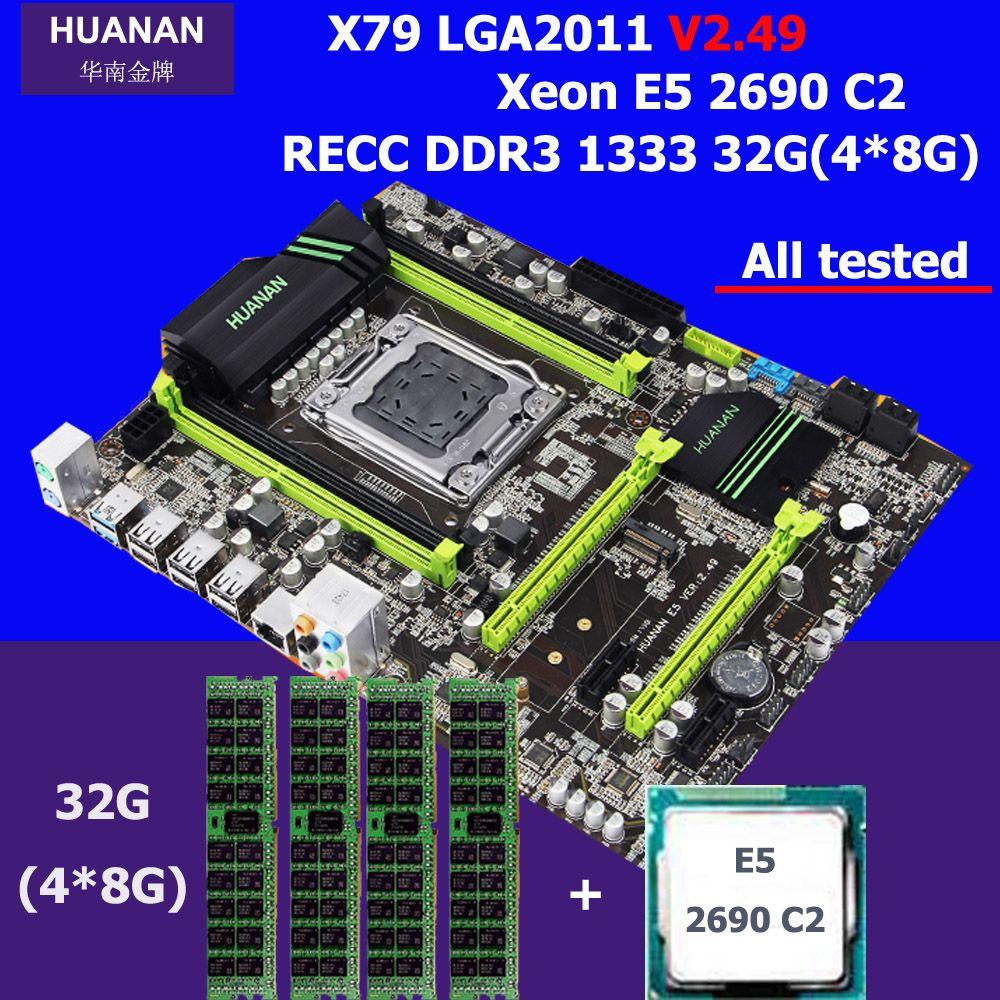 Neue ankunft HUANAN V2.49 X79 MOTHERBOARD-FREIES CPU RAM set prozessor Xeon E5 2690 C2 speicher 32G DDR3 REG ECC test vor versand