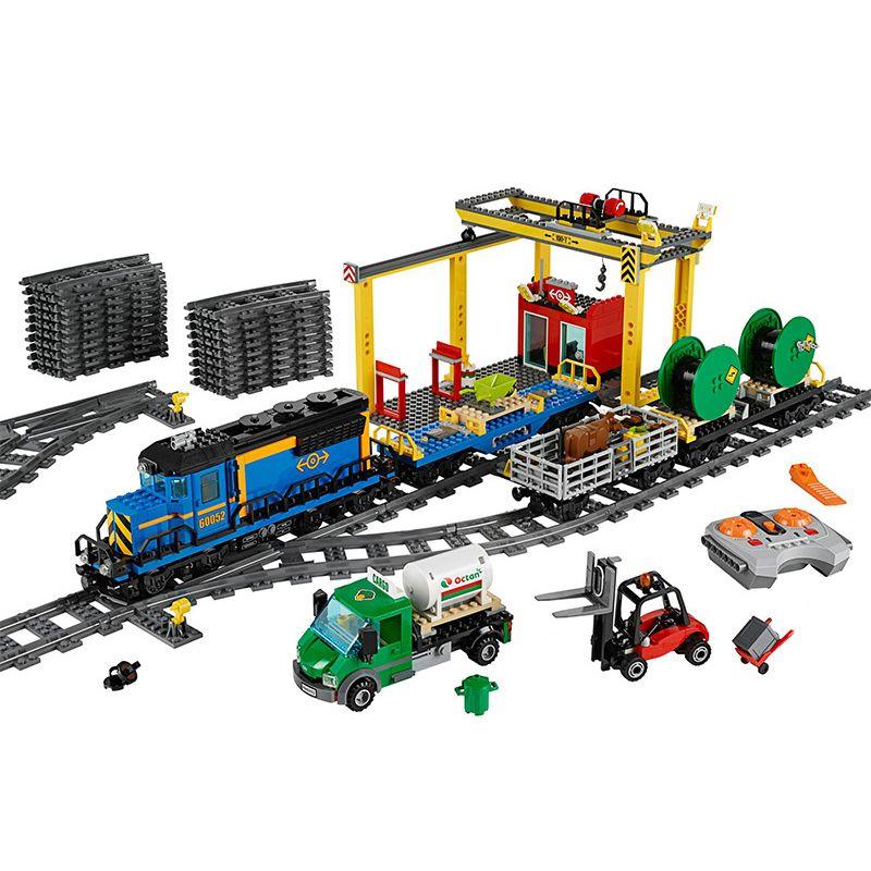 DHL 02008 ville motorisée télécommande fret Train modèle blocs de construction brique Compatible Train 60052 enfants jouets éducation cadeau