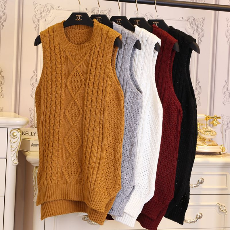 Female medium-long pullover vest solid color twisted yarn vest waistcoat sleeveless sweater r6218