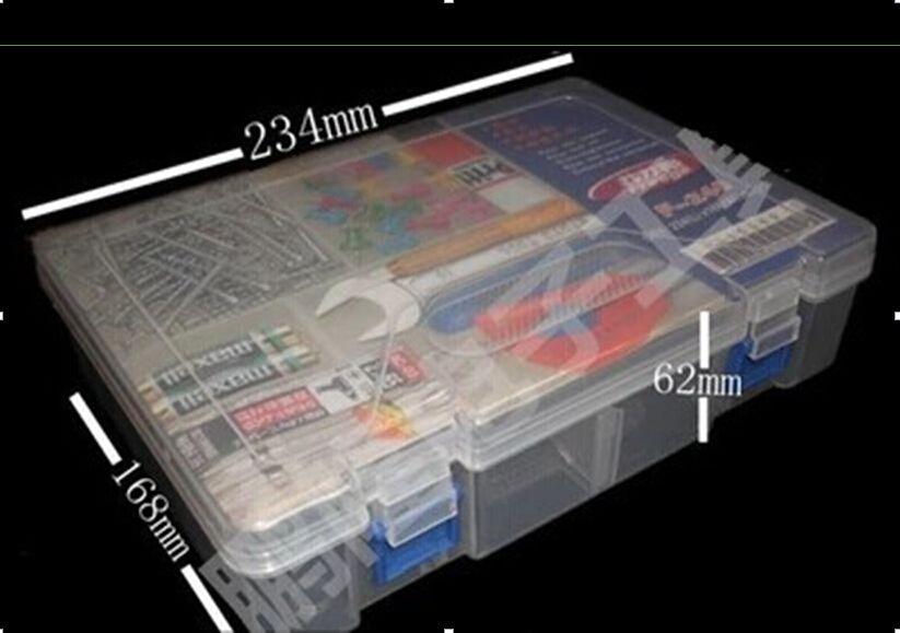 Caja de plástico para el kit/Dos Capas De Almacenamiento/Organizador, tamaño 234*168*62mm