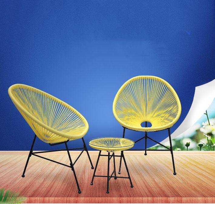 LK578 3 STÜCKE Balkon Café Tisch und Stühle Set Kreative Atmungs Mond Stuhl Schwere Loading Kunststoff Draht + stahl Terrasse möbel Set