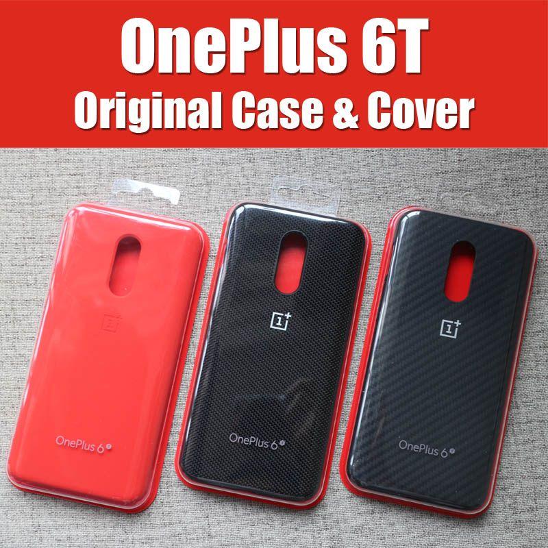 A6013 étui officiel OnePlus 6 t original 1 + 6 T OnePlus 6 sur mesure en Silicone grès Nylon Karbon pare-chocs en cuir