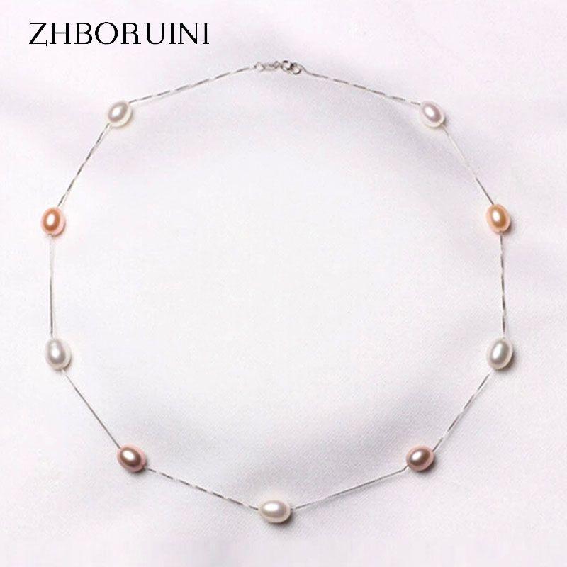 ZHBORUINI Mode collier en perles 925 perle en argent massif Bijoux perle d'eau douce naturelle de Foulard Pendentifs Bijoux Pour Les Femmes