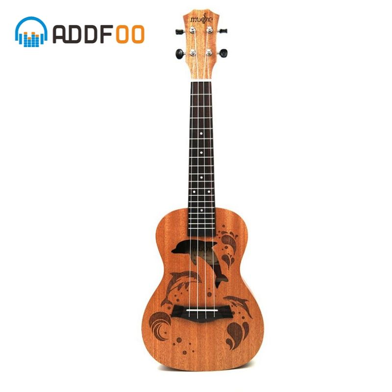 ADDFOO 21/23 Inch Ukulele 4 Nylon Strings Sapele Rosewood Body With Dolphin Pattern Universal Acoustic Guitar Instrument