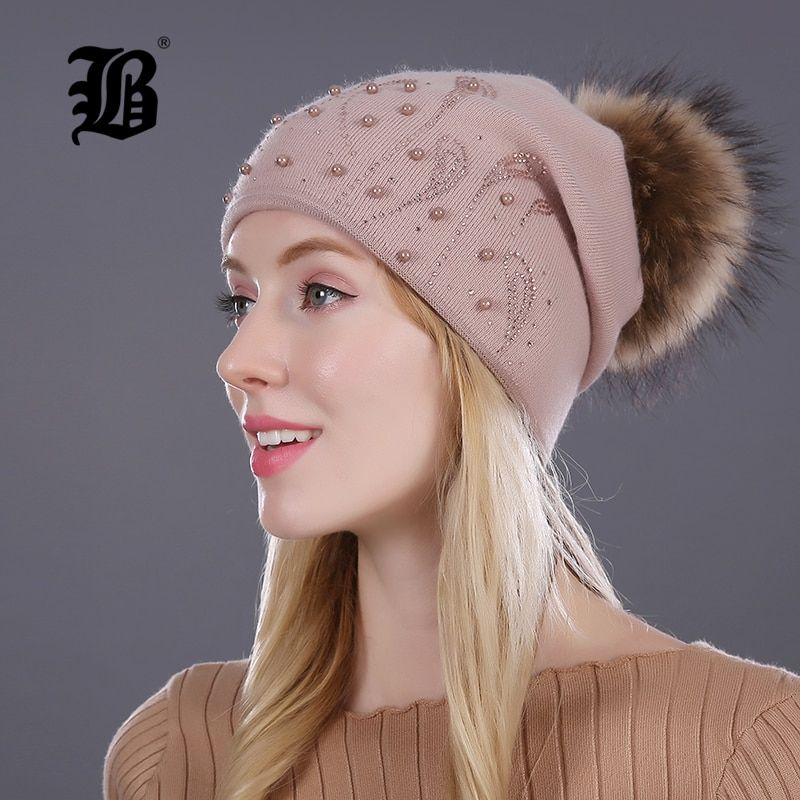 [FLB] Keep Warm Winter Hat Beanies Fur Wool Pearl Knitted Hat The Female Of The Mink Caps Beanies Hats For Women <font><b>Girl</b></font> 'S Cap