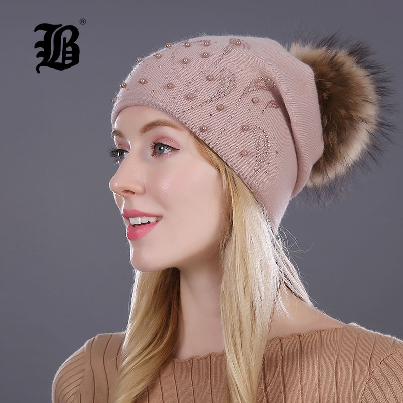 [FLB] Keep Warm <font><b>Winter</b></font> Hat Beanies Fur Wool Pearl Knitted Hat The Female Of The Mink Caps Beanies Hats For Women Girl 'S Cap