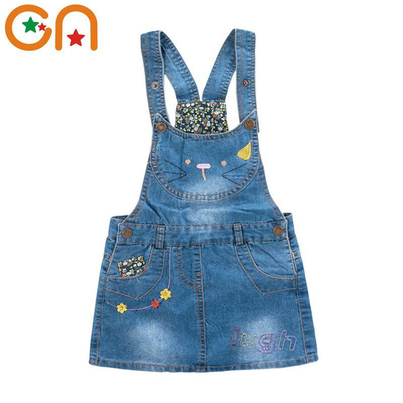 2-7 ans été nouveau Denim robe d'été filles mignon mode Kitty broderie fleurs Styles cowboy sangle robe sans manches bébé enfants CN