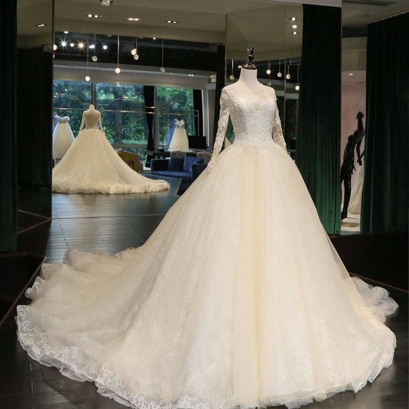 Luxurious Embroidery Appliques Ball Gown Wedding Dresses Sparkly Beading Pearl Long Sleeve 2018 Real Photo Vestido De Noiva