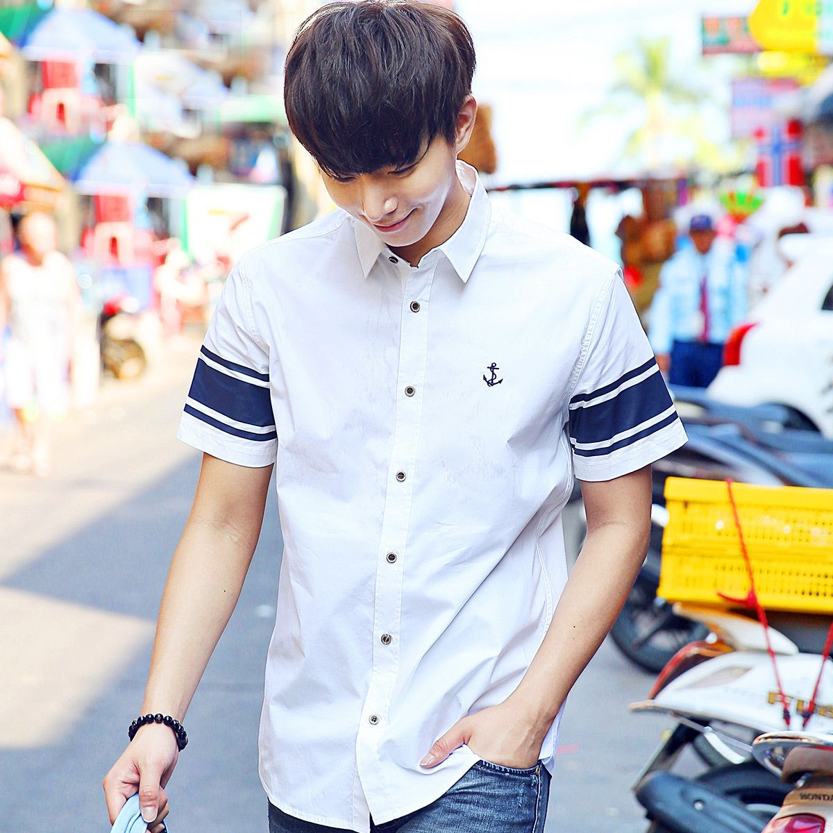 Summer male short-sleeve shirt casual fashion trend of the men's personalized clothing shirt stripe shirt top