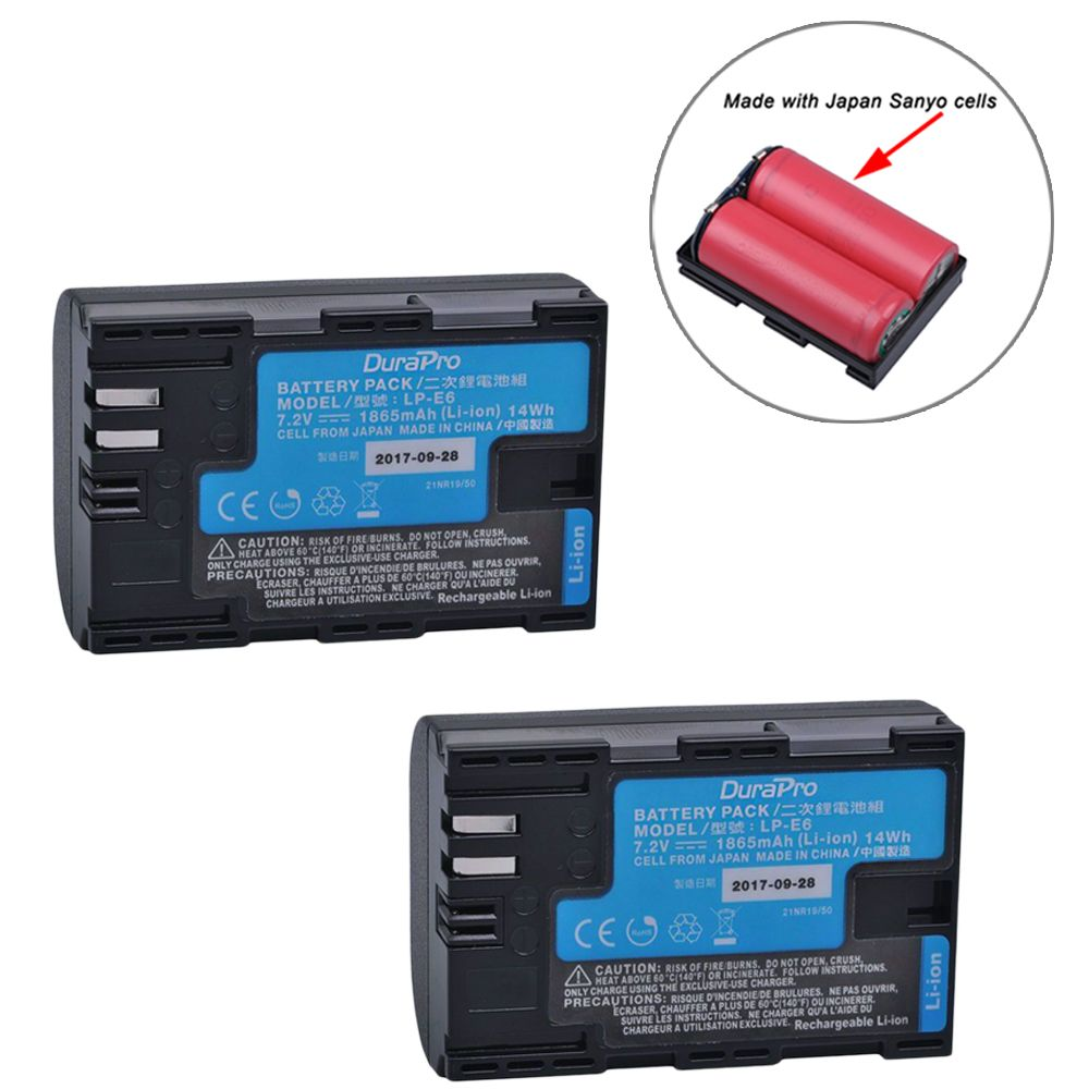 2pcs LP-E6 LP-E6N LP E6 Camera Battery Made With Japan Cells for Canon LP-E6 EOS 5DS 5D Mark II Mark III 6D 7D 60D 60Da 70D 80D